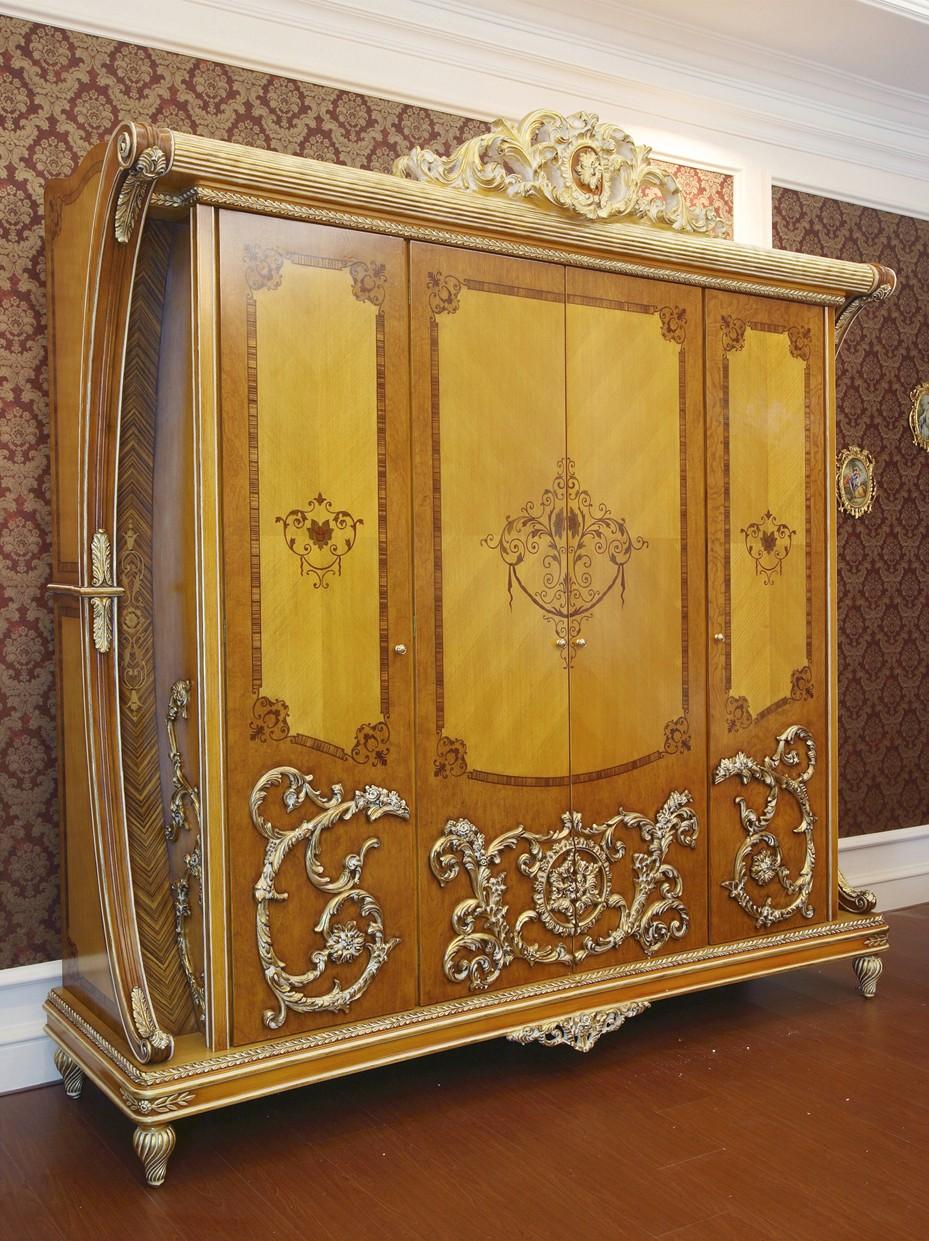 Franse barok ontwerp houten slaapkamer meubels set kingsize luifel ...