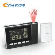 LED projection clock with dual alarm and color changing display