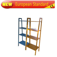 china factory cheapest solid wood office book shelf, magazine rack 4 tier Shelves Media Cases Wall Mount Stand