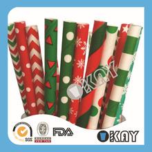 Christmas Red And Green Paper Straws Bamboo For Festival