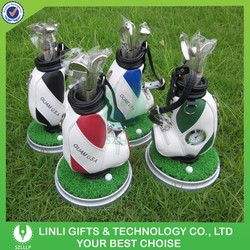 Golf Set Of Pen Holder With Clock As Promotional Gift