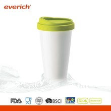 High quality white porcelain thermos coffee mug with lid