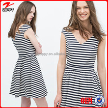 Dongguan garment manufacturer OEM service sleeveless stripe dresses for office ladies