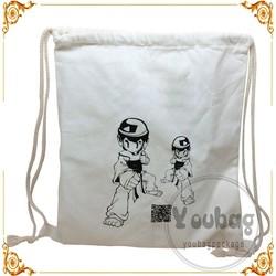 Factory price 8oz white cotton drawstring bag with custom logo