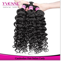 Wholesale unprocessed italian curly Cambodian human virgin hair extension