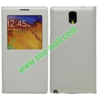 Leather Battery Backup Case for Samsung Note 3 III/ N9000 with Screen Window