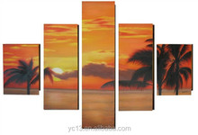 SN-19 Guangzhou Manufacturer directly offer handmade 5 panel Sunset rosy clouds group canvas oil painting