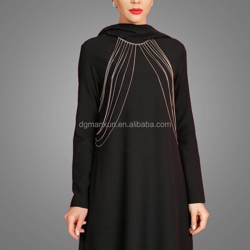 Fashion Islamic muslim evening dress for ladies black abaya in dubai 2017 (3).jpg