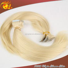 Virgin blonde color 613 PU skin weft seamless hair extensions