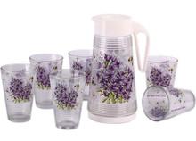 decal printed 7pcs glass drinking juice set