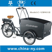 three wheel electric tricycle cargo bike/ cargo tricycle for kids/family bike