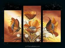 three pcs panel flower decoration oil painting on canvas
