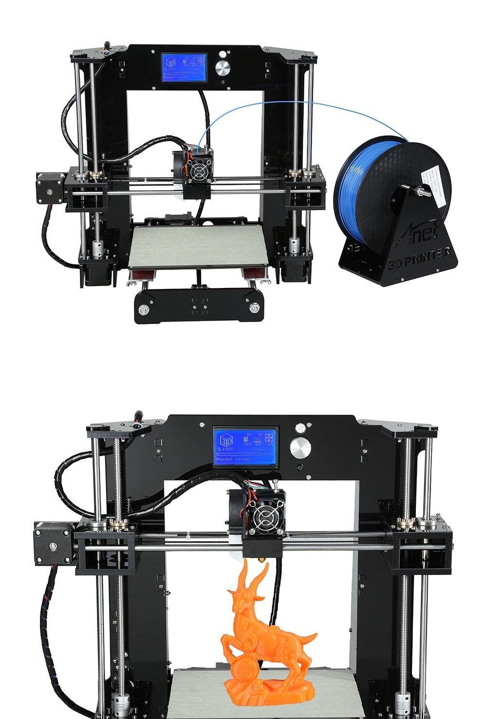 Date Amélioré Pleine Acrylique Cadre 3D Imprimante BRICOLAGE Anet A6 Taille 220*220*250mm Reprap Prusa i3 3D Imprimante Kit DIY