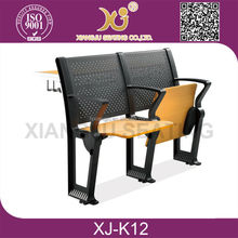 XJ-K12 College student desks with folding chairs for lecture hall