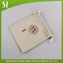 Wholesale Custom logo printed small natural burlap linen jute flax cloth drawstring sack cotton bag for promotion wedding Party