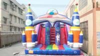 hot sale rocket inflatable bouncy slides, blue cartoon inflatable slides castle for kids