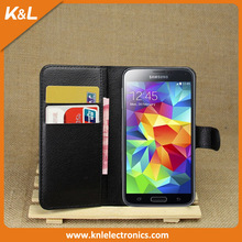Simple Smooth Leather Cases for Samsung S5 Stand Wallet Case for Galaxy S5 i9600