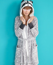 Factory Cheap Winter Warm Coon Design Hooded Ladies Short Heart Prints Fleece Home Lounge Robes Wear