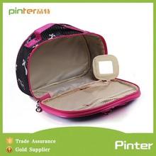 Pinter bags 2015 manufactory logo custom satin material ribbon contents cosmetic bag