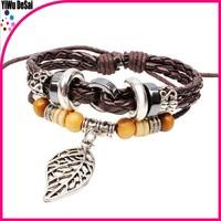 Wooden bead beaded bracelet Alloy maple leather braided bracelet