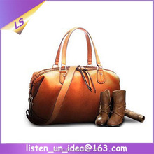 customize crazy horse leather travel bag women