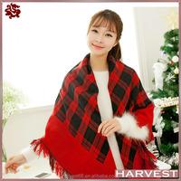Big size fashion women cashmere check shawl for winter