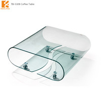 Longjiang Shunde Foshan Newland furniture factory modern hot bend glass coffee table (TB-530B)