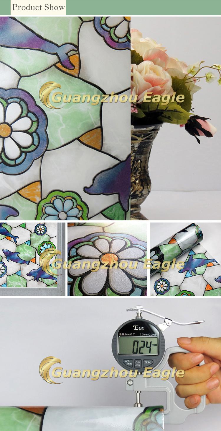 Kleurtint dolfijn bloem patronen van de lente groene glasfolie ...