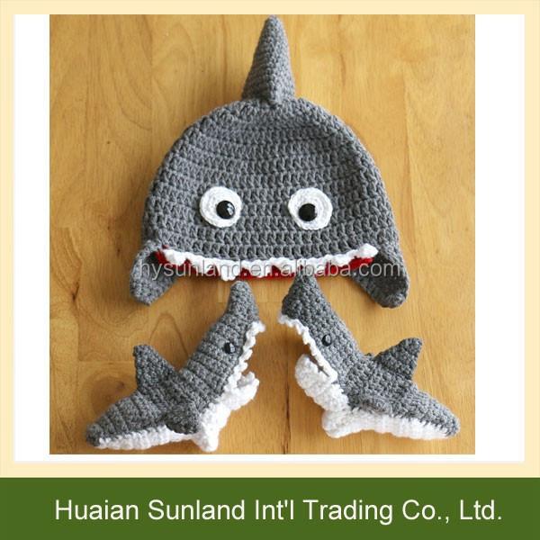 W-974 Funny Unisex Crochet Pattern Shark Socks Knitted Shark Socks Slippers -...