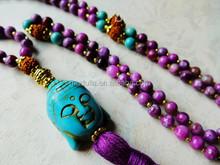 QN134 Sugilite Mala Beads / Prayer Beads - Turquoise Buddha - Japa Mala Meditation Beads - Amplify Intuition