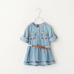 MS68870C embroidery denim shirts kids girls neck design of blouse