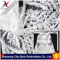 NEWEST SINGLE SCALLOP PATTERN CORD LACE EMBROIDERY FABRIC ON NYLON MESH GROUND FOR WEDDING DRESS