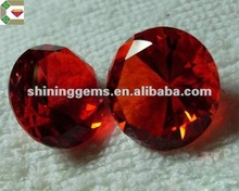 hot sale good clarity charming round cut dark garnet fashion glass gems for decorative