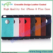 Crocodile Design for iPhone 6 Plus Case, Leather Coated TPU Back Cover Case for iPhone 6 Plus 5.5 inch