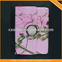 Rotating Pink Camo PU Leather Case For 2014 Edition P600