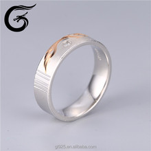 rhodium and rose gold plated pure silver ring of 925 sterling charms