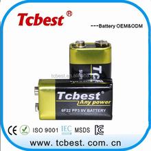 oem manufacturer carbon zinc battery 9v 6f22 battery