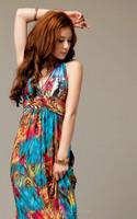 Мода макси платье сексуальный v-образным вырезом партии платье женщины Павлин Печатный богемной пляж платье с pd0074 бюстгальтер
