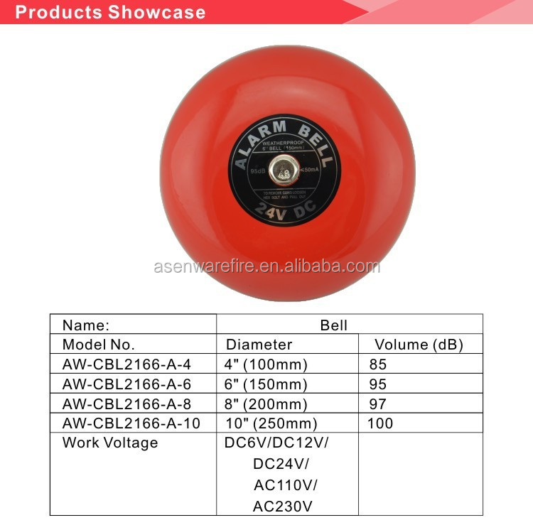 Red Color Electric School Bell With Ac220v/dc24v For Alarm
