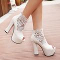 Moda salto alto sapatos peep- toe salto alto branco de casamento do laço sapatos ph3486