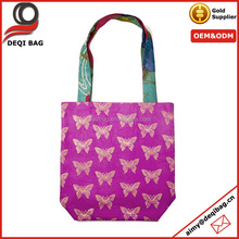 Rose Red Nice Butterfly gold color logo silk printing Beach Tote Bag Shopping Bag