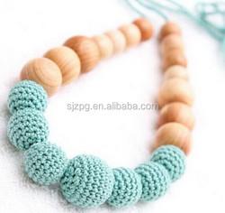 2015 Crochet handmade teething beads babynecklace, breastfeeding toy