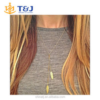 2015 New Vintage Steampunk New Leaf Plated Gold Sweater Chain Necklace Long Necklaces Jewelry For Women Wholesale/