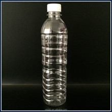 350ml 500ml 600ml clear pet mineral water beverage plastic bottle with white blue screw caps