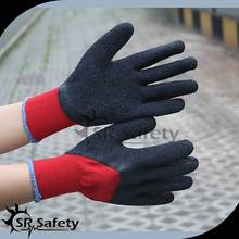 10 gauge dark red polycotton liner 3/4 coated black latex gloves with cotton inside