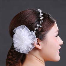 2015 Popular Handmade Bridal Flower Hair Accessories Pearl And Fabric Head Jewelry MLF082