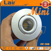 AC85-265V 120lm/W CRI Ra>80 led cabinet light 3W cob single mini led light