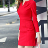 Womens 3/4 Sleeve Ruched Waist Classy V-Neck Casual Cocktail Dress OEM Type Clothes Manufacturer Factory Supplier Guangzhou