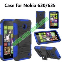 3 in 1 Pattern Snap-On Holster Silicone + PC Hybrid Heavy Duty Kickstand Belt Clip Case for Nokia 635/630