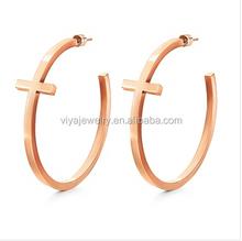 High quality huggie hoop 2014 gold plated jewelry earrings stainless steel hoop earrings made in china factory